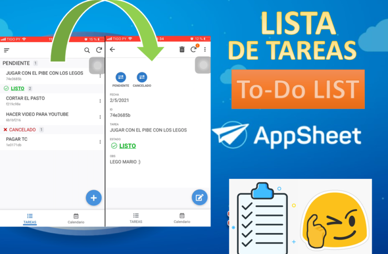 Crear APP de LISTA de Tareas (To-Do LIST) en APPSHEET. Crea Apps a partir de Google Sheets.